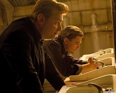"""Director CHRISTOPHER NOLAN with LEONARDO DiCAPRIO on the set of Warner Bros. Pictures' and Legendary Pictures' sci-fi action film """"INCEPTION,"""" a Warner Bros. Pictures release."""