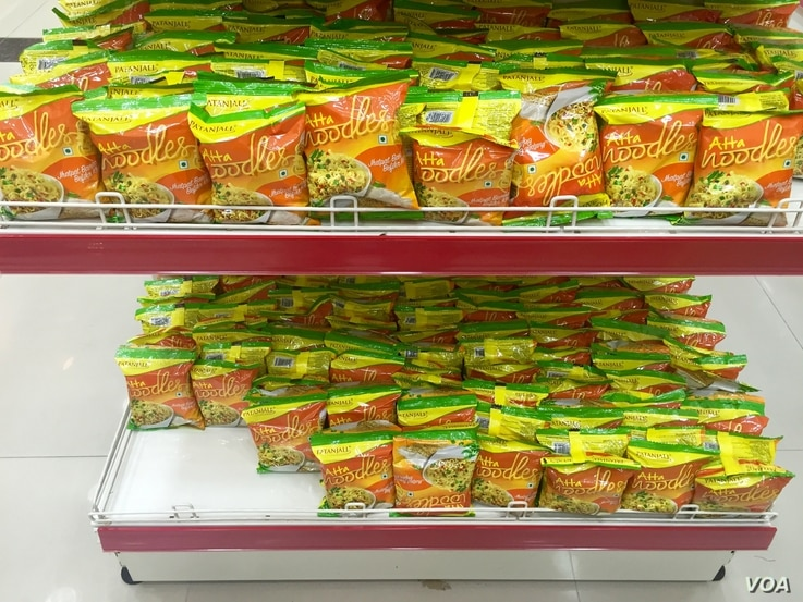 The launch of Patanjali noodles last year was accompanied by a controversy over whether the company had the necessary permissions. (A. Pasricha / VOA)