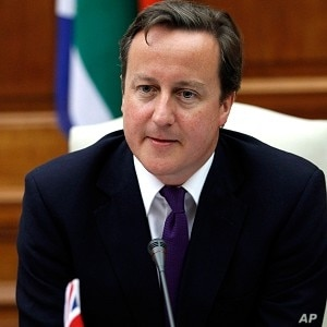 British Prime Minister David Cameron says he'll cut carbon emissions in the United Kingdom in half by 2025.
