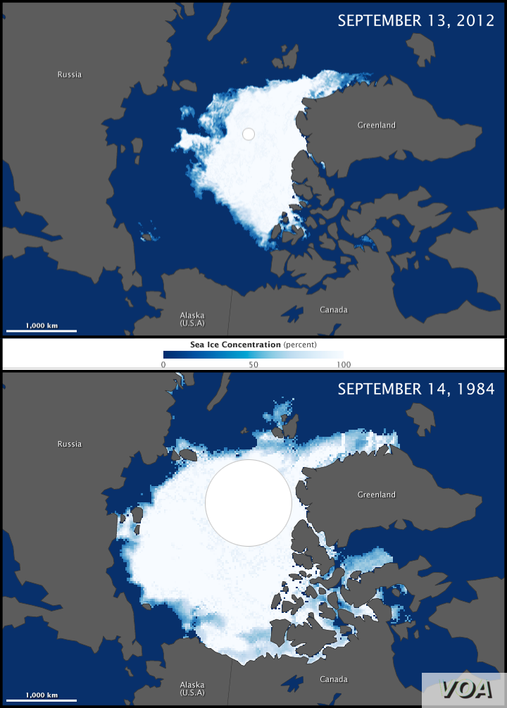 These maps compare the Arctic ice minimum extents from 2012 (top) and 1984 (bottom). In 1984 the minimum Arctic sea ice extent was 6.70 million square kilometers. The minimum ice extent in 2012 was nearly half of that at 3.41 million square kilometer...