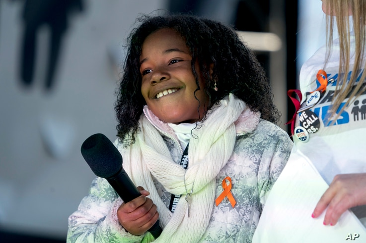 Yolanda Renee King, granddaughter of Martin Luther King Jr., speaks during the March for Our Lives rally in support of gun control in Washington, March 24, 2018.