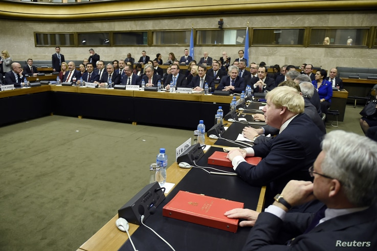 European Foreign ministers attend the Cyprus reunification talks at the United Nations in Geneva, Switzerland, Jan. 12, 2017.