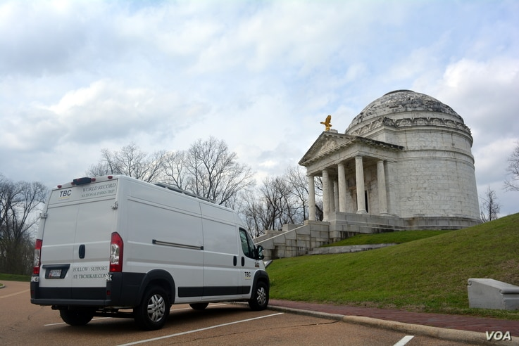 Mikah parked his 'home away from home' in front of the Illinois Memorial at Vicksburg National Military Park. The 47 steps leading up to the rotunda commemorate the 47 days of the siege of Vicksburg.