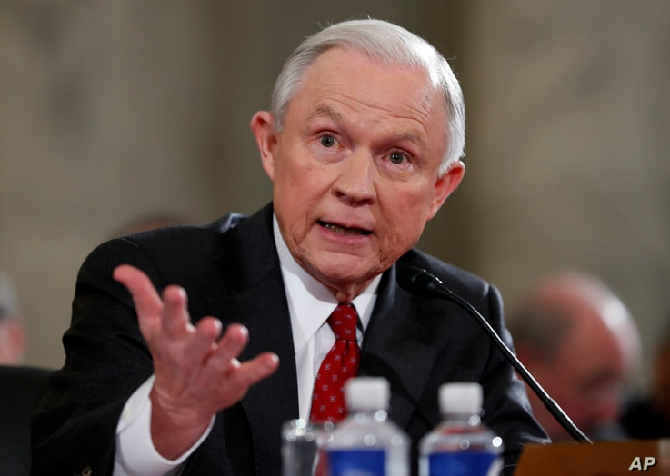 Attorney General-designate, Jeff Sessions, testifies on Capitol Hill, Jan. 10, 2017, at his confirmation hearing before the Senate Judiciary Committee.