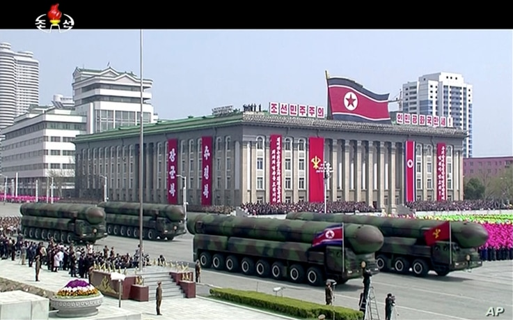 In this image made from video provided by North Korean broadcaster KRT, missiles are displayed during a parade at Kim Il Sung Square in Pyongyang, April 15, 2017.