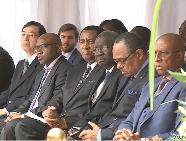 Senior Cameroon state officials are seen at the inauguration ceremony, in Yaounde, Cameroon, Dec. 3, 2018. (M. Kindzeka/VOA)