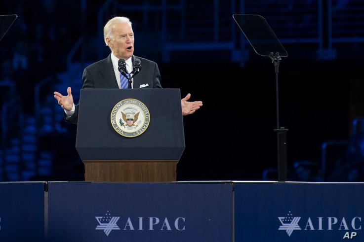 Vice President Joe Biden addresses the American Israel Public Affairs Committee (AIPAC) Policy Conference in Washington, Sunday, March 20, 2016.