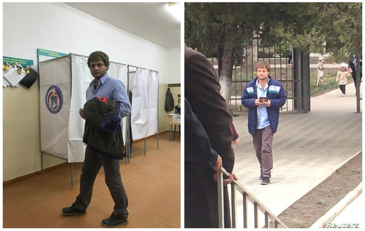 A combination picture shows a voter visiting polling station number 217, at left, and walking toward the entrance of polling station number 216, during the presidential election in Ust-Djeguta, Russia, March 18, 2018. The voter, asked by a Reuters re...
