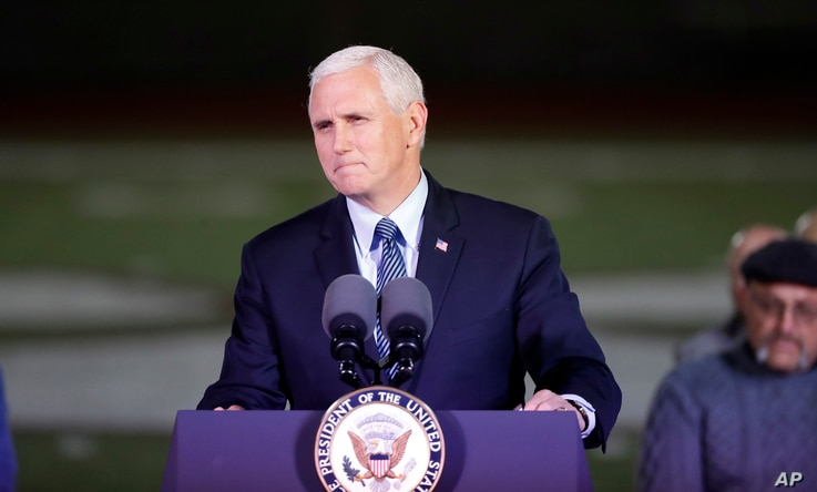 Vice President Mike Pence speaks during a prayer vigil for the victims of the Sutherland Springs First Baptist Church shooting, Nov. 8, 2017, in Floresville, Texas.