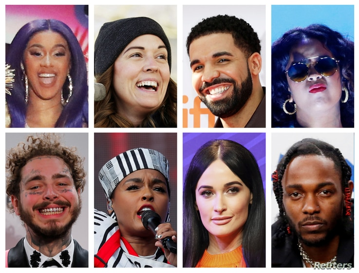 FILE - Grammy Award nominations in Album of the Year category includes artists in this combination photo; (Top L-R) Cardi B, Brandi Carlile, Drake and H.E.R., (Bottom L-R) Post Malone, Janelle Monae, Kacey Musgraves and Kendrick Lamar.