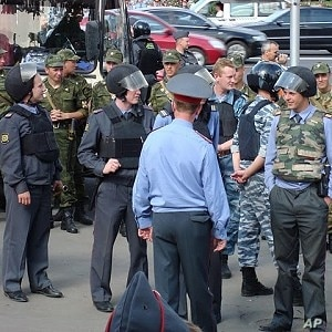 Police at an opposition demonstration, Moscow (file)