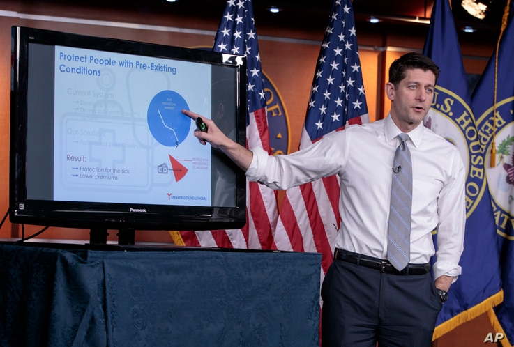 House Speaker Paul Ryan of Wisconsin uses charts and graphs to make his case for the GOP's long-awaited plan to repeal and replace the Affordable Care Act, during a news conference on Capitol Hill in Washington, March 9, 2017.