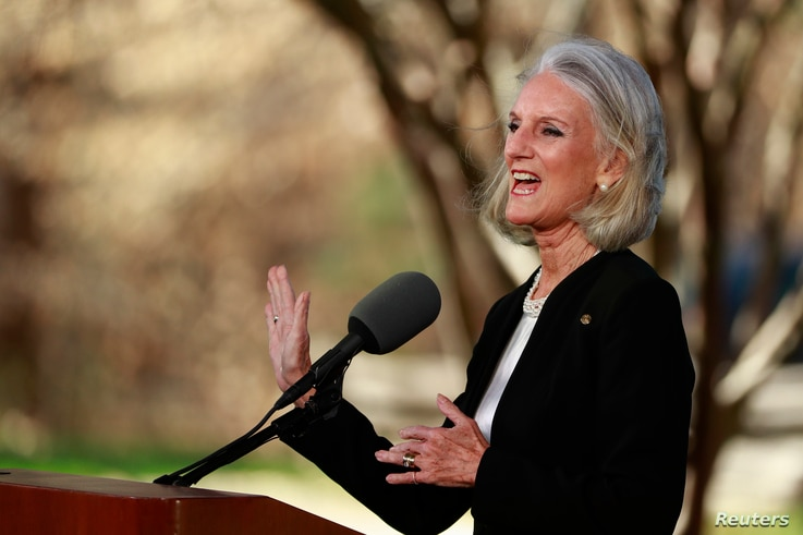 Anne Graham Lotz, daughter of U.S. evangelist Billy Graham, speaks during his funeral service at the Billy Graham Library in Charlotte, North Carolina, March 2, 2018.