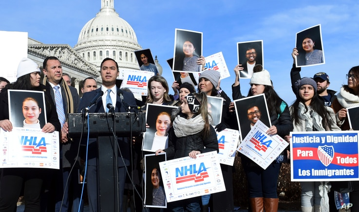 Rep. Joaquin Castro, D-Texas, speaks at a news conference on Capitol Hill in Washington, Jan. 19, 2018. Castro and others spoke in support of the Deferred Action for Childhood Arrivals program (DACA), an Obama administration initiative that has prote...