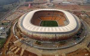 Soccer City Stadium in Johannesburg, South Africa, site of the 11 June opening ceremonies of the 2010 World Cup. The biggest stadium in Africa will launch the opening match of this year's World Cup tournament, featuring host South Africa against Mexi...