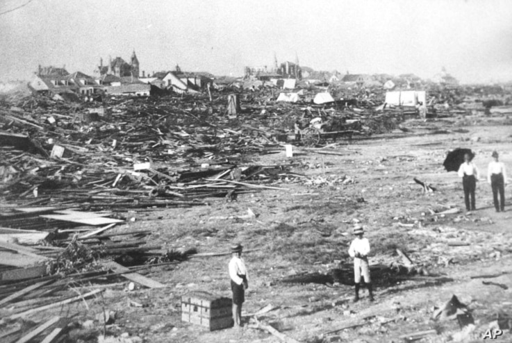 In this September 1900 photo, a large part of the city of Galveston, Texas, is reduced to rubble after being hit by a surprise hurricane Sept. 8, 1900. More than 6,000 people were killed and 10,000 left homeless from the storm, the worst natural disa...
