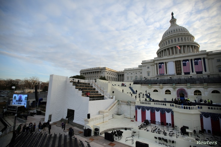The U.S. Capitol during a rehearsal for the inauguration ceremony of U.S. President-elect Donald Trump in Washington, Jan. 15, 2017.