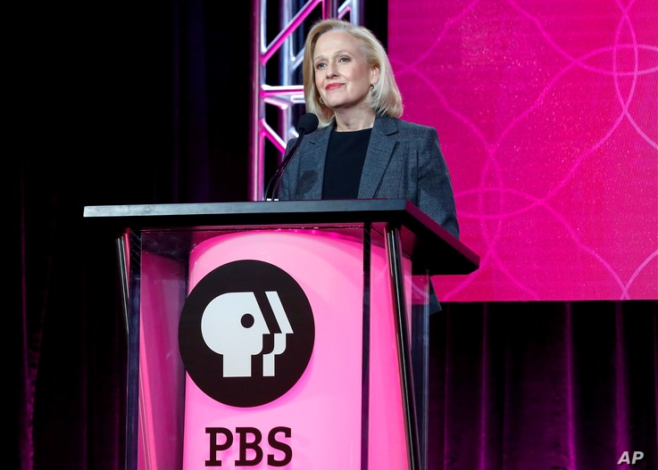 FILE - President and CEO Paula Kerger speaks at the PBS's Executive Session at the 2017 Television Critics Association press tour in Pasadena, Calif., Jan. 15, 2017.  President Donald Trump's 2018 budget proposal plans to kill funding for the Corpora...