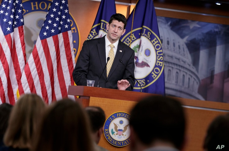 House Speaker Paul Ryan of Wisconsin meets with reporters on Capitol Hill in Washington, March 2, 2017.