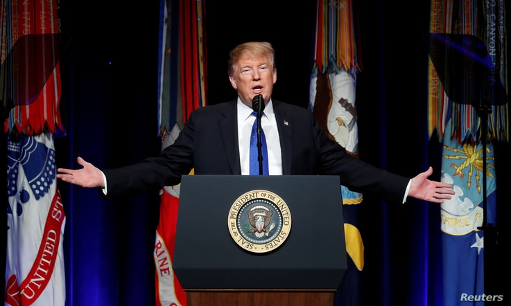 FILE - U.S. President Donald Trump participates in the Missile Defense Review announcement at the Pentagon in Arlington, Va., Jan. 17, 2019.