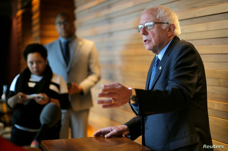 U.S. Democratic presidential candidate and U.S. Senator Bernie Sanders talks to reporters in New York City, April 8, 2016.