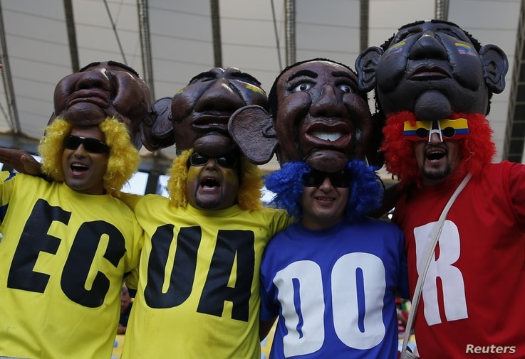 Ecuador's fans show their support before the match against France at the Baixada arena in Curitiba, June 20, 2014.
