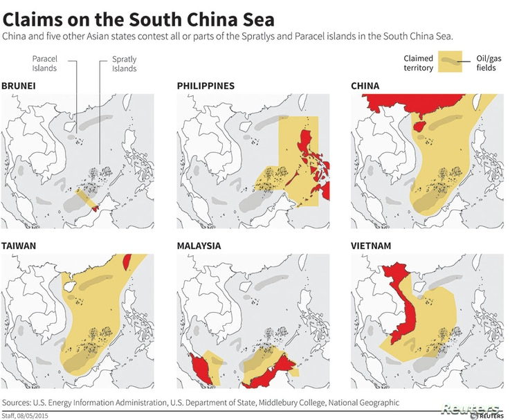 Maps showing the claims of six Asian countries contesting all or parts of the Spratly and Paracel islands in the South China Sea.