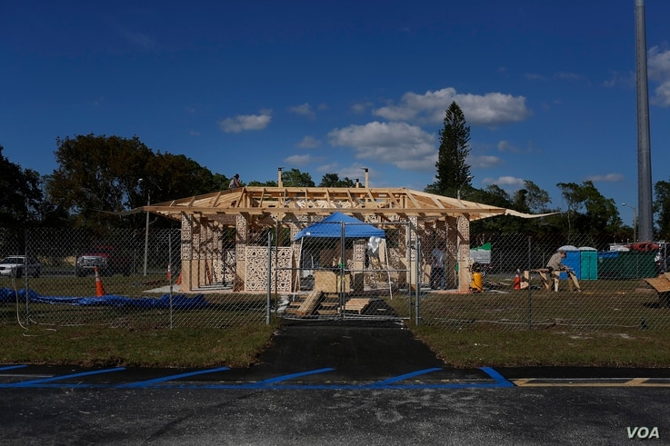 California artist David Best, and a team of volunteers build a non-denominational, temporary temple for the anniversary of the Marjory Stoneman Douglas High School shooting massacre, on Feb. 5, 2019 in Coral Springs, Fla.