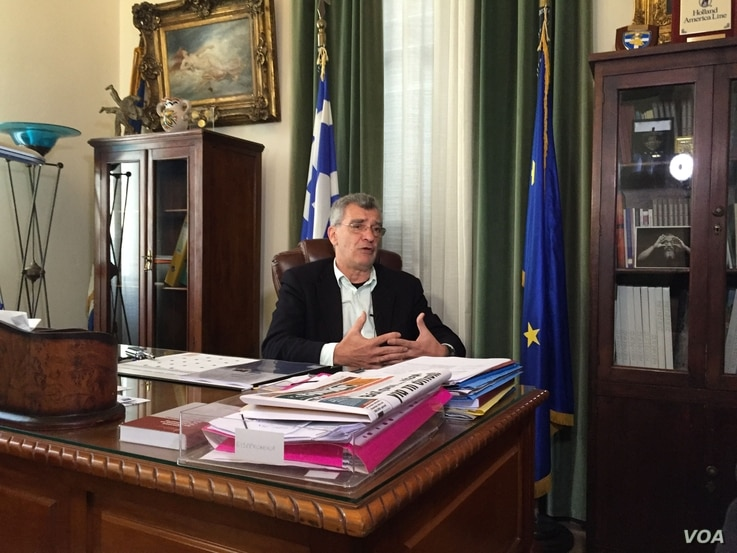 """Lesbos Mayor Spyros Galinos told VOA he believes Europe's image and future are at stake, April 3, 2016. """"Today, Europe is at a crossroads. One way it leads to an enlightened Europe of hope, of peace, of solidarity, one that defends human values a..."""