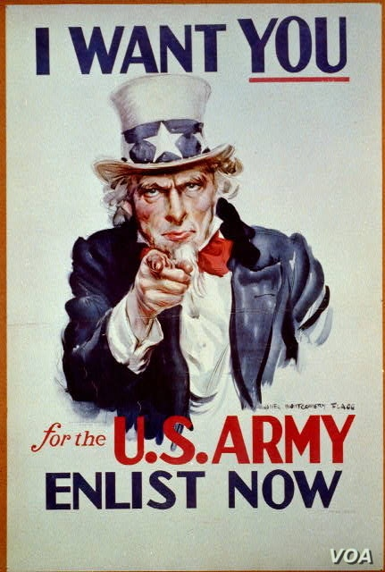 """Uncle Sam Poster """"I want you for U.S. Army: nearest recruiting station"""" (Artist: James Montgomery Flagg, Publishedc1917)"""