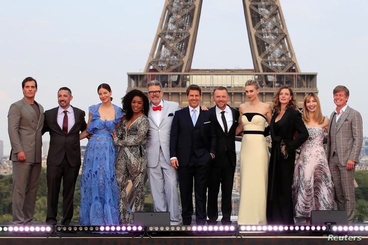 Director Christopher McQuarrie, cast members Tom Cruise, Henry Cavill, Simon Pegg, Rebecca Ferguson, Angela Bassett, Michelle Monaghan, Vanessa Kirby, Alix Benezech, Caspar Phillipson, and producer Jake Myers pose during the world premiere of the fil...