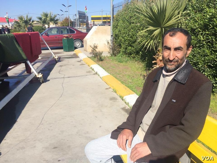 Outside the Emergency West Hospital, Wissam Araf Rashid, a primary school teacher from the Zahoor area of eastern Mosul says they didn't believe IS threats of chemical attacks until they were hit, pictured on March 5, 2017 in Erbil, Kurdistan Region,...