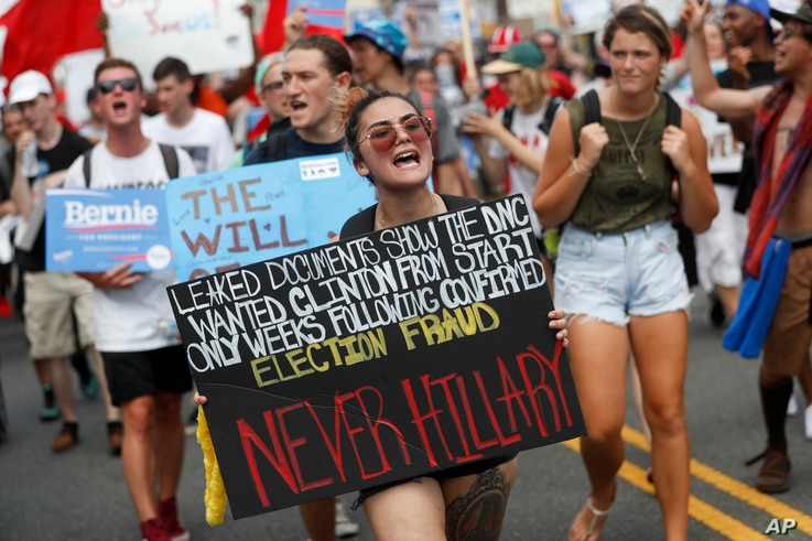 Supporters of Sen. Bernie Sanders, I-Vt., march during a protest in downtown Philadelphia, July 25, 2016, on the first day of the Democratic National Convention.