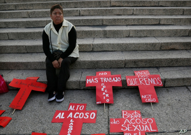 """A woman waits for the start of an anti-violence against women protest in Mexico City, Nov. 25, 2016. Protesters seek justice for the many unsolved missing and murder cases involving women.The signs say in Spanish """"Stop the attacks,"""" """"No more badly pa..."""