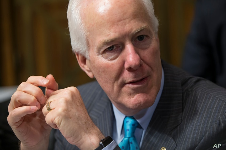 Sen. John Cornyn, R-Texas, the Senate majority whip, arrives for hearing at the Senate Judiciary Committee on Capitol Hill in Washington, March 16, 2016.