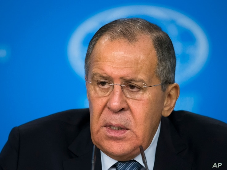 Russian Foreign Minister Sergey Lavrov speaks during his annual roundup news conference summing up his ministry's work in 2017, in Moscow, Russia, Jan. 15, 2018.