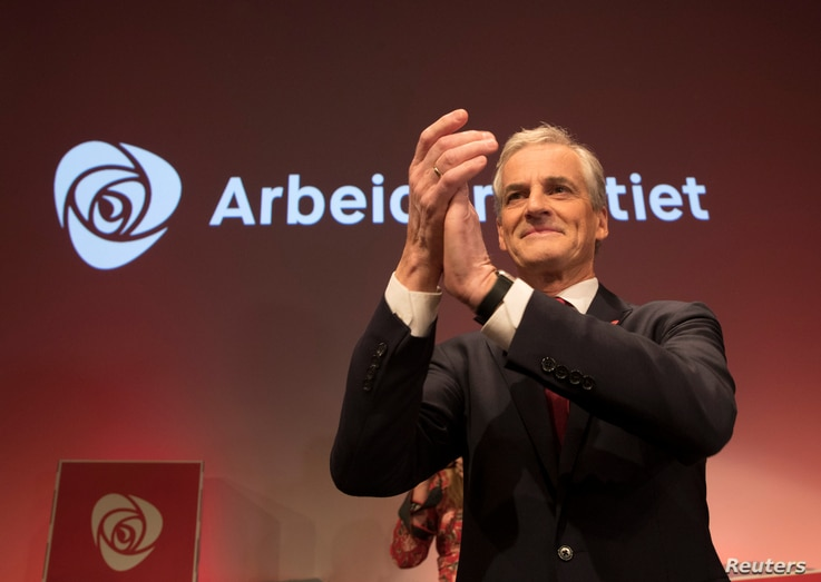 Norway's Labour Party leader Jonas Gahr Stoere gestures at the election gathering of AP (Norway´s Labour Party) in Oslo, Norway, Sept. 11, 2017.