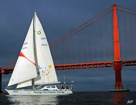 The 2041 sails by Golden Gate Bridge in San Francisco en route to its global tour which runs through 2012