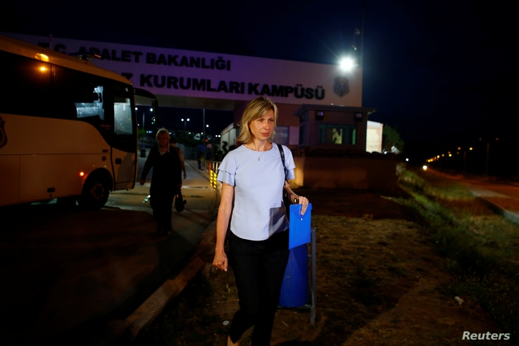 Norine Brunson, the wife of jailed U.S. pastor Andrew Brunson, leaves Aliaga Prison and Courthouse complex in Izmir, Turkey, May 7, 2018.