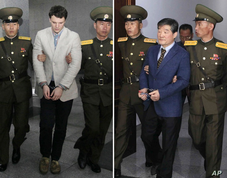 FILE - FILE - In this combination of file photos, U.S. citizens Otto Warmbier on March 16, 2016, left, and Kim Dong Chul on April 29, 2016; are escorted at court in Pyongyang, North Korea.