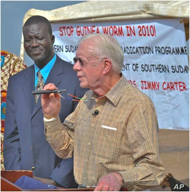 Feb. 11, 2010. Molujore Village, Terekeka County, Southern Sudan.  Former U.S. President Jimmy Carter traveled to the remote Southern Sudan village of Molujore on Feb.11, 2010 to congratulate the community on the progress being made to eliminate the ...