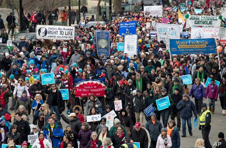 Anti-abortion demonstrators arrive on Capitol Hill in Washington, Jan. 27, 2017, during the March for Life. The march marks the anniversary of the 1973 Supreme Court decision legalizing abortion.