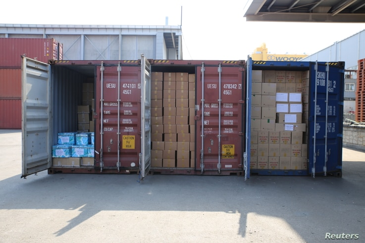 Medicine supplies stacked in containers are seen after shipments to North Korea were delayed at a port in Pyeongtaek, South Korea, Feb.25, 2016, in this handout photo released by the Eugene Bell Foundation.