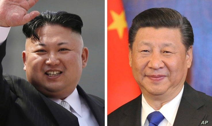 FILE - This combination of file photos shows North Korean leader Kim Jong Un, left, and Chinese President Xi Jinping.