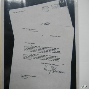 This 1945 letter from President Harry Truman encouraged Town Line residents to rejoin the union.