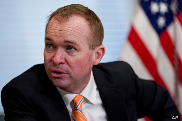 Budget Director Mick Mulvaney speaks during a meeting in the Eisenhower Executive Office Building on the White House complex in Washington, May 25, 2017.
