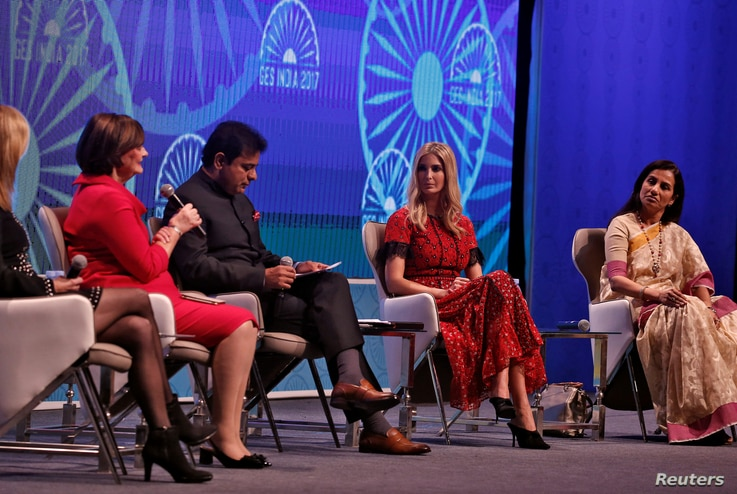 Ivanka Trump, second right, daughter of U.S. President Donald Trump, attends the Global Entrepreneurship Summit (GES) in Hyderabad, India, Nov. 29, 2017.