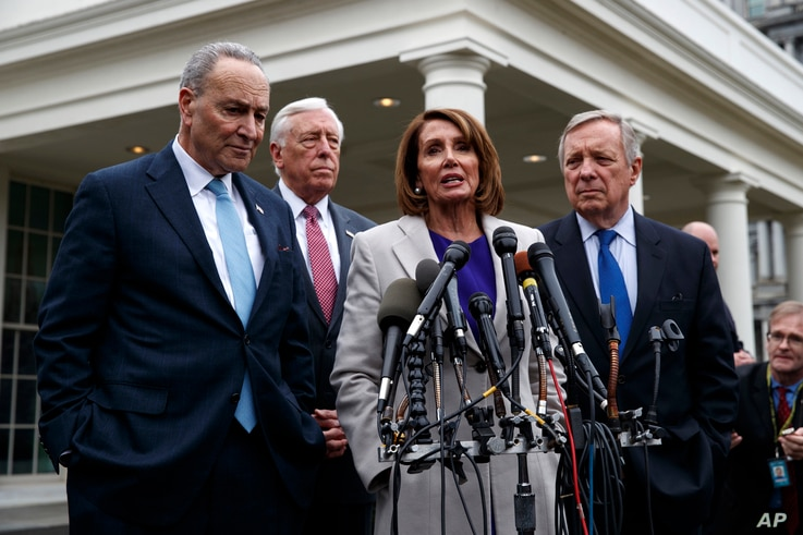 Speaker of the House Nancy Pelosi, D-Calif., speaks to reporters after meeting with President Donald Trump about border security in the Situation Room of the White House, Jan. 4, 2019.
