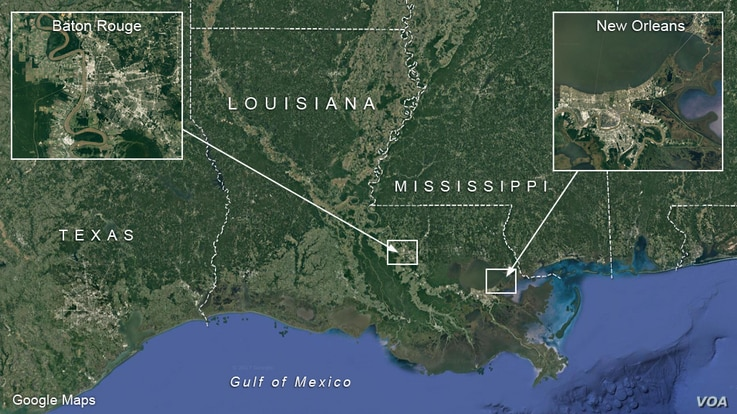 New Orleans and Baton Rouge, Louisiana