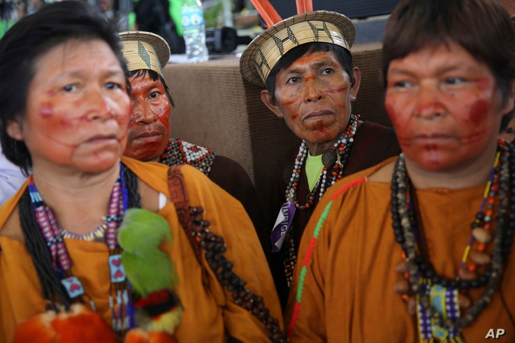 A group of indigenous wait for the arrival of Pope Francis in Puerto Maldonado, Madre de Dios province, Peru,  Jan. 19, 2018.